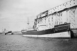 ss Farnworth and ss Warkworth. 1931. First ships to load wheat at Churchill. Photograph Courtesy of Library and Archives Canada C-022471…