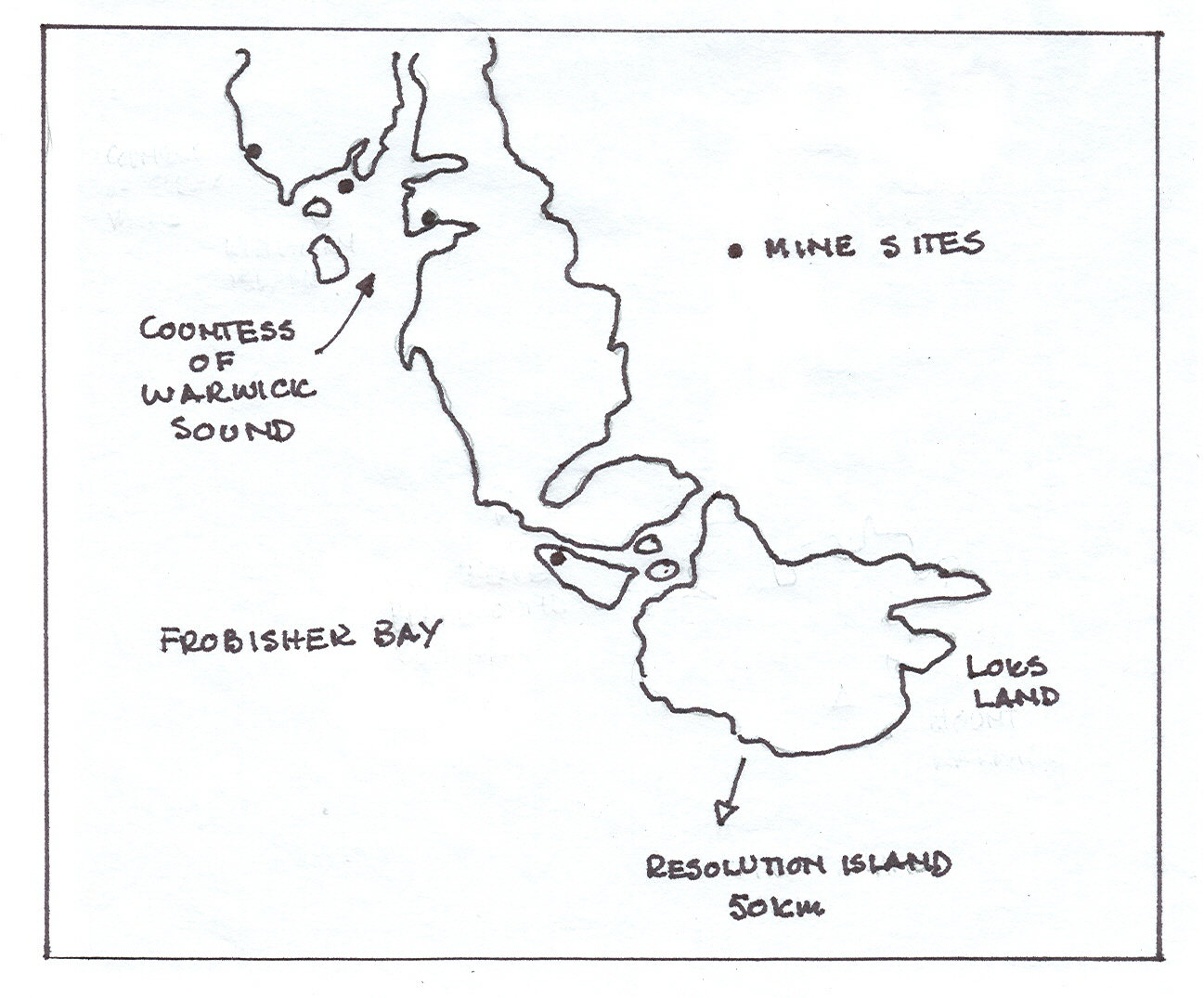 Location of Martin Frobisher's purported gold mine.