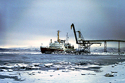 Ice breaker John A Macdonald at Nanisivik mid 1980's. Photograph Courtesy of Captain Todd Gilmore