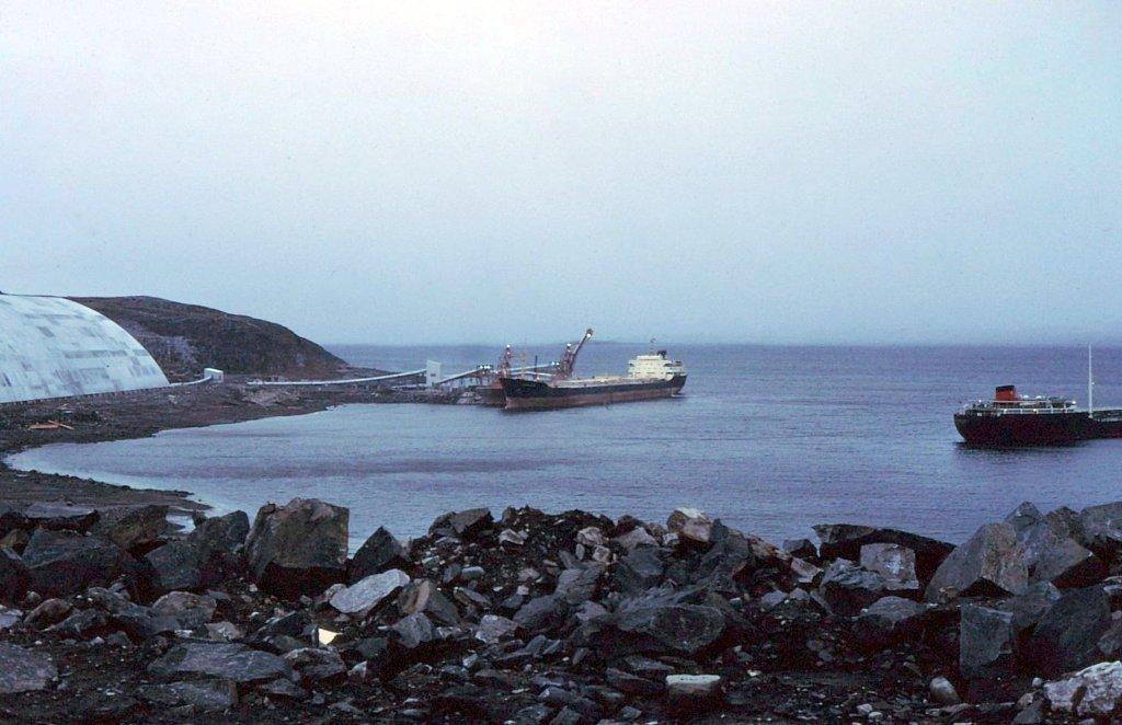 Asbestos Corporation dock with tanker alongside . Photograph courtesy of Harald Kullmann, WorleyParsons, mid 1970's